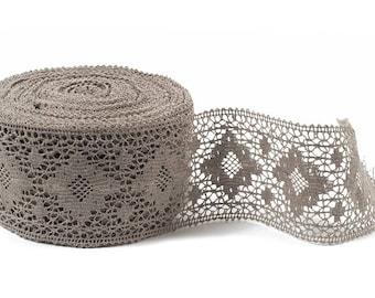 Linen lace, linen decor,Linen  trim,high quality.Natural gray  grey color.