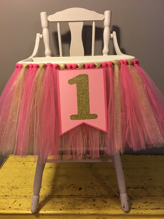 pink and gold highchair skirt high chair tutu pink and
