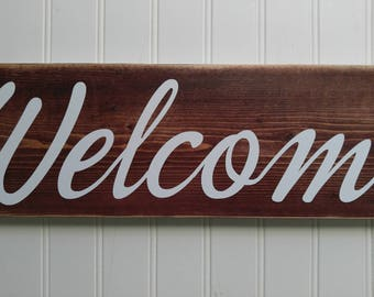 Welcome sign, wood sign, sign with vinyl, distressed sign, rustic sign