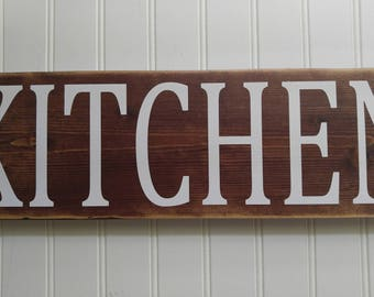 Kitchen sign, kitchen wood sign, distressed sign, rustic sign, sign with vinyl.