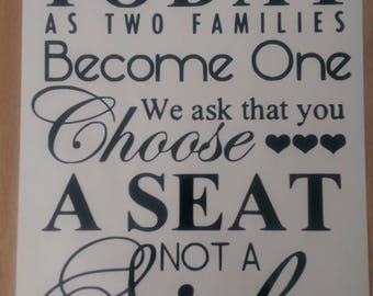 Wedding Seating Sign Decal w/free shipping