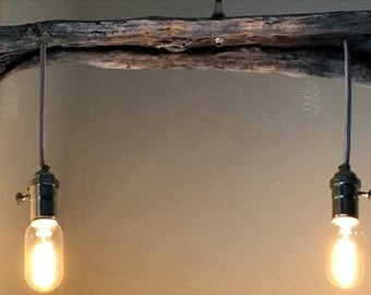 Industrial Pendant Lighting Driftwood Dual Polished Nickel Ceiling Fixture 30 H