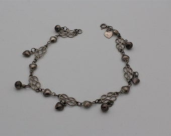 Sterling Silver Hearts And Bells Anklet