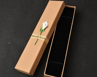 20pcs 5*23*3cm Sticky flower jewelry box with cover Long section Kraft paper Packing boxes