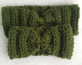 The Bow Band - crochet headband - crochet earwarmer - winter headband