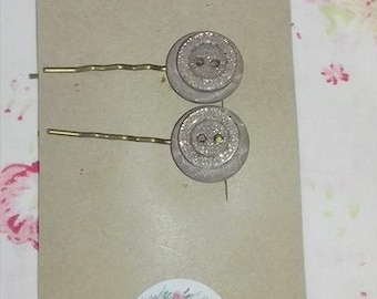 Button Hair Clips/ Slides/Grips Cream and gold sparkles