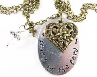 Clearance - Hand stamped trust in the Lord necklace