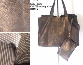Bronze leather tote