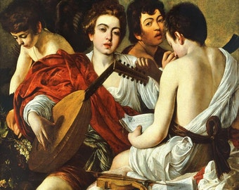 Caravaggio : The Musicians (1595) Canvas Gallery Wrapped Wall Art Print