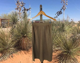 Brown Country Western Skirt, Vintage Women's Skirt, 70s Boho Skirt,  Cowgirl Skirt, Brushed Faux Suede, Cos Cob, Small
