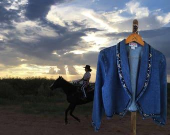Denim Western Jacket, Womens Country Western Blazer, Made in USA, Southwestern Blazer, Santa Fe Style, Cropped Jacket, Wanted, Large