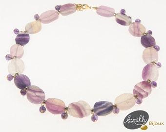Necklace, fluorite, amethyst, choker, purple, pink