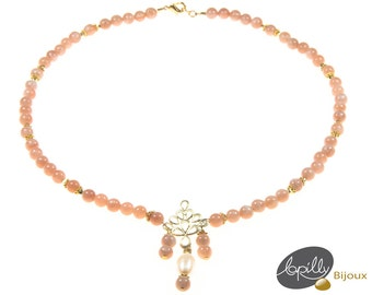 Necklace moonstone orange, cultured pearl, orange, white