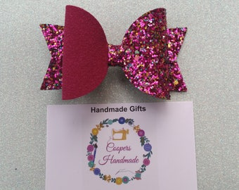 Red Chunky Glitter Hair Bow