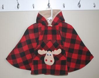 Car Seat Coat, Toddler Poncho, CarSeat Coat, Car Seat Poncho, Carseat Poncho, Child Poncho, Fleece, Red Buffalo Check Moose - Ready to ship