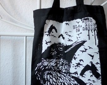 handprinted cotton tote raven black metal occult
