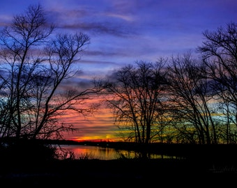 colorful sunset over the water