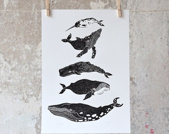 Whales | Linocut