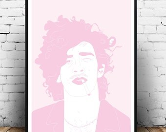 The 1975 Matty Healy poster, Matty healy wall art, the 1975 wall art print, Pink home decor, pink music wall art, The 1975 poster