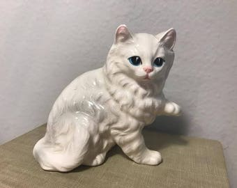 Vintage White Persian Porcelain Cat Japan Figurine Statue Trinket, Fluffy White Kitty, Blue Eyes, Pink Nose, Cat Gift Lovers