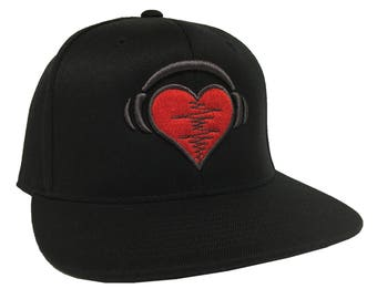 Heart Beat 3D Embroidery  on a 110 Snapback Flexfit