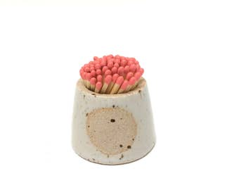 SOLD OUT Handmade stoneware ceramic match pot. New batch ready for dispatch Monday 12/6/17