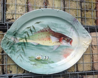 French Limoges Painted Fish Serving Platter