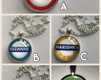 FinksGifts - Personalised (Name) London Underground Sign Pendant (ROUND shaped)
