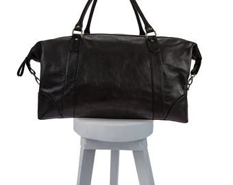 Leather weekend bag - Weekender bag - Leather weekender bag - weekender bag for women - mens weekender - black leather weekender