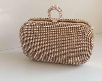 Diamond ring clutch, Evening clutch, Evening purse, Wedding clutch, prom clutch, bridal clutch, clutches, clutch, party clutch, Gold clutch