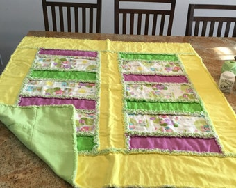 Pretty three layer flannel rag quilt.  Owls, houses, and trees.  43x43.  50.00 baby or toddler girl.