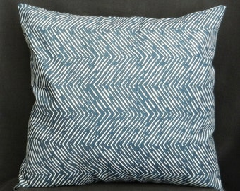 Pillow Cover 18 x18, Navy Blue and White Chevron Print