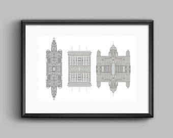 Liverpool Three Graces Reflective Print