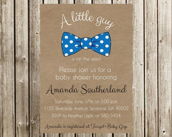 Bow Tie Baby Shower Invitation