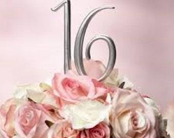 Monogram Number 16 Cake Topper by Elegant Cakery