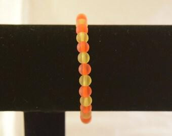 Orange and Yellow Sea Glass Bracelet
