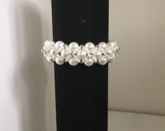 Bridal Pastel Beaded Braided Cuff Bracelet