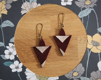 Earrings leather, plum and gold iridescent