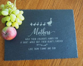 FREE DELIVERY - Personalised Engraved Slate rectangular plate - natural edge 35x25x0.5cm - Gifts for Mum - Birthday gift - Gift for her