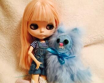 Mini Blue Cat Plush Toy Kawaii Plushie BJD Prop Blythe Friend Toys Diorama Weird Stuffed Animal Ugly Cute OOAK Art Toy