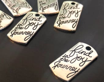 6 Find Joy In The Journey Charms | Silver Affirmation Tag | Bulk Charms | AS023-6