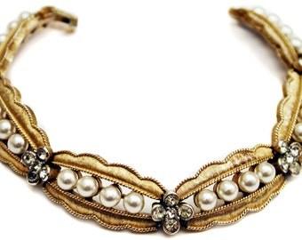 Trifari Faux Pearls Rhinestones Bracelet