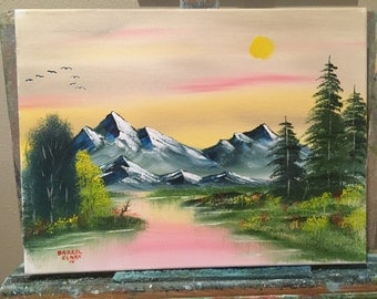 Oil painting lake, trees and mountains local artist custom