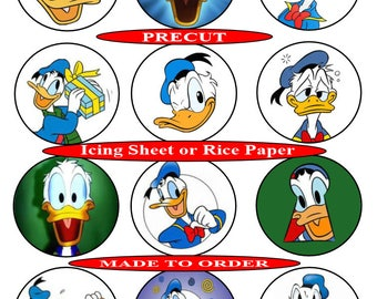 Donald Duck pre-cut edible  cupcake toppers, 2 sizes