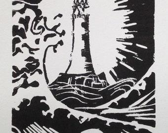 Lighthouse genuine Lino print