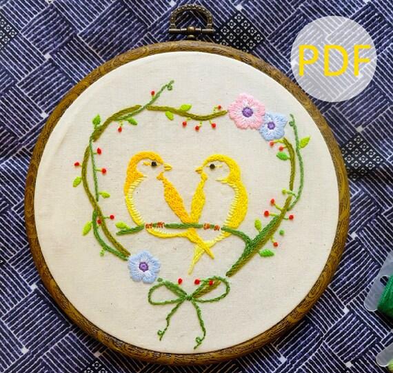 Canary yellow bird hand embroidery pattern beginner