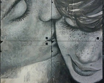 """Unframed couple """"kiss"""" portrait painted on up-cycled recycled floppy disks old diskettes - wall hanging"""