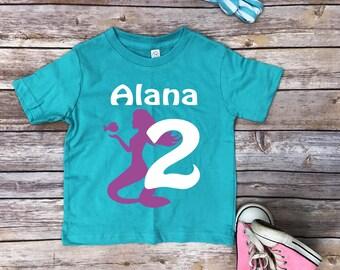 Mermaid shirt, mermaid birthday, mermaid toddler, birthday gift, custom, personalized shirt, toddler girl shirt, birthday shirt, clothing,