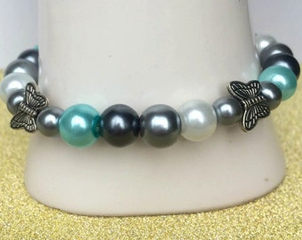 Turquoise,grey and white glass bead bracelet, Butterfly bracelet, Toggle clasp, Bead bracelet, Gift for mum, Mothers day gift. Present