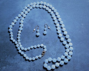 "Blue Lace Agate Necklace 34"" and Earrings"